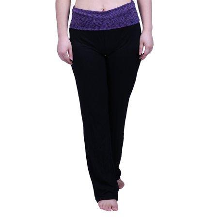 70e15dd5c1 hde women's fold over waist yoga lounge pants flare leg workout leggings ( black, small)