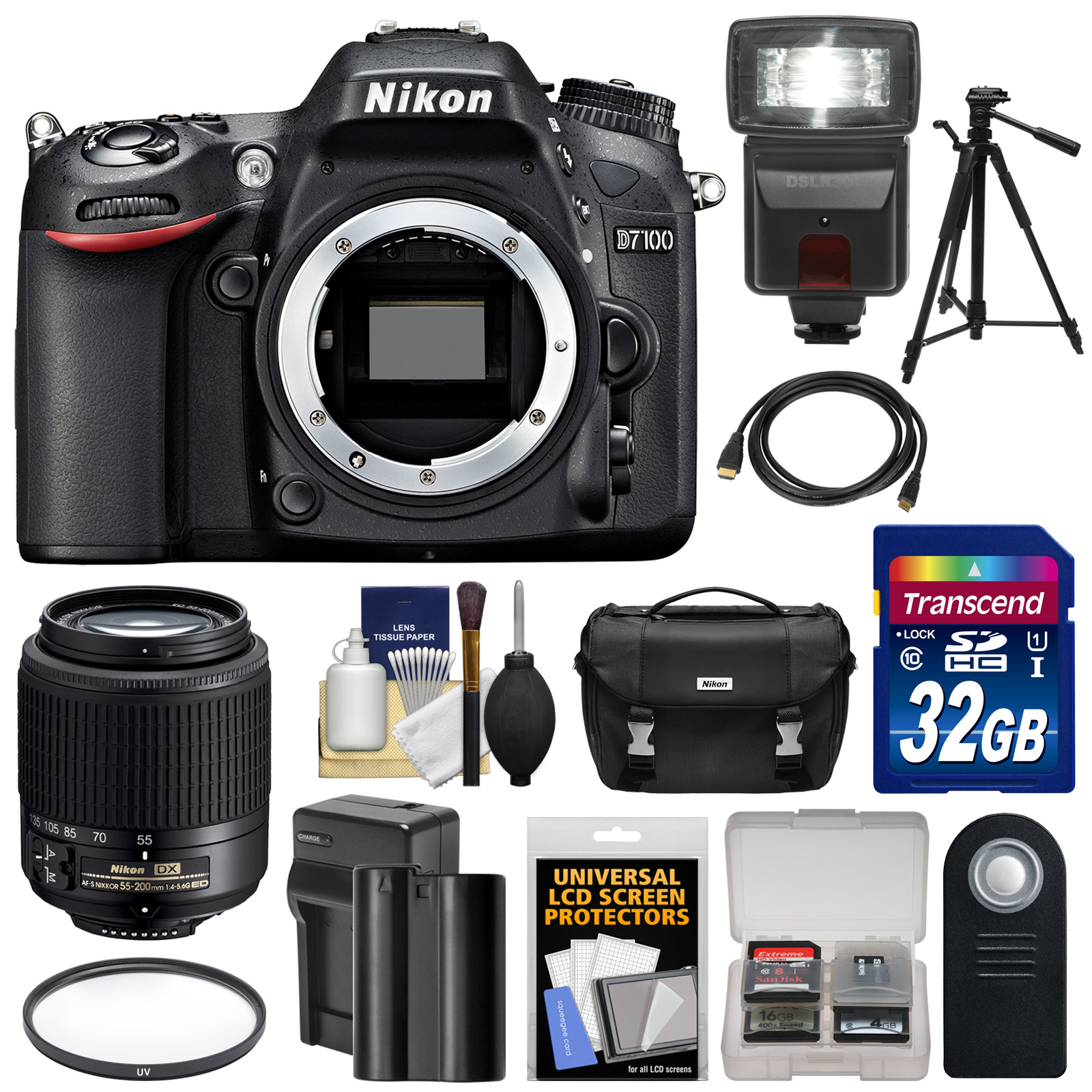 Nikon D7100 Digital SLR Camera Body with 55-200mm DX AF-S Lens + 32GB Card + Battery & Charger + Case + Tripod + Flash + Kit