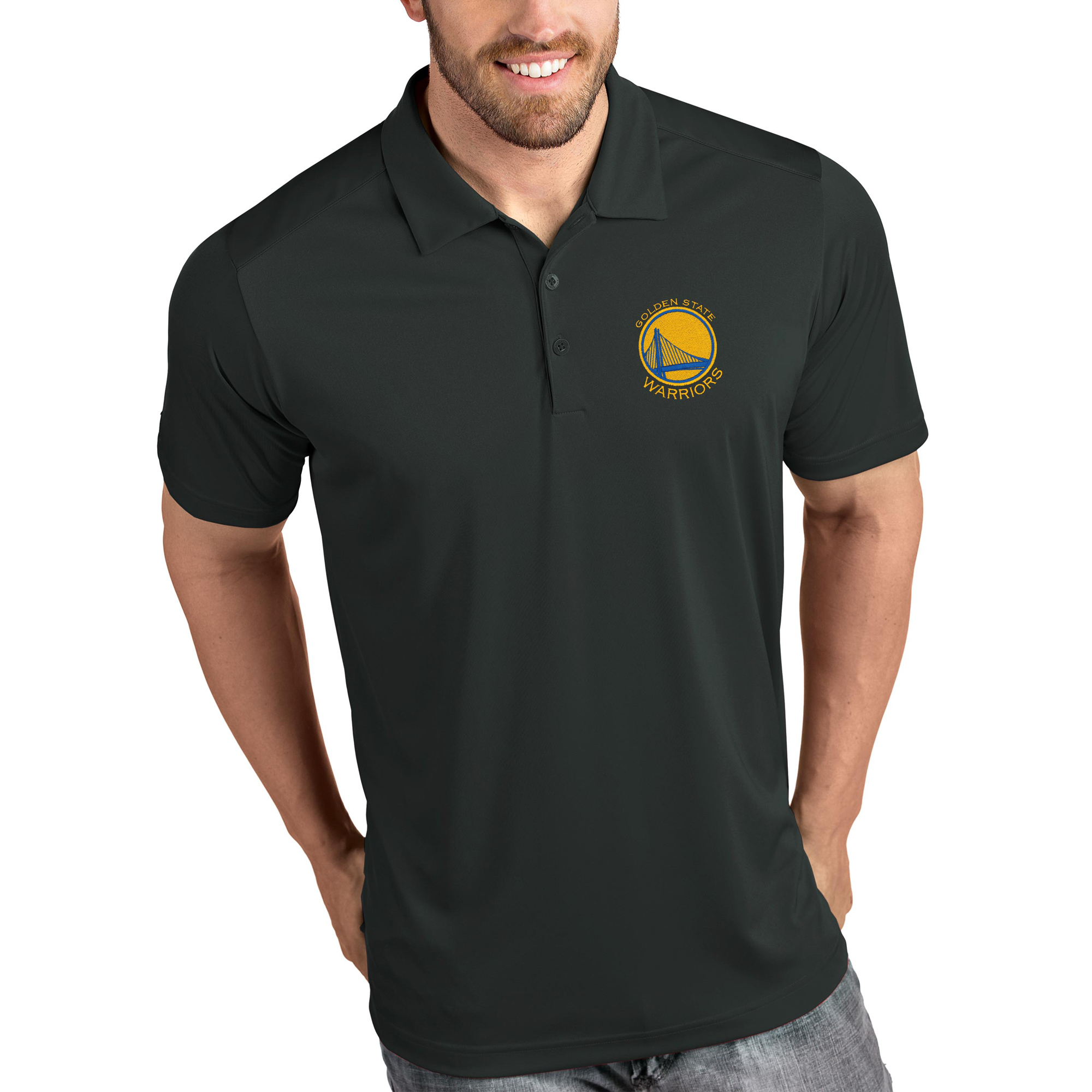 Golden State Warriors Antigua Tribute Polo - Charcoal