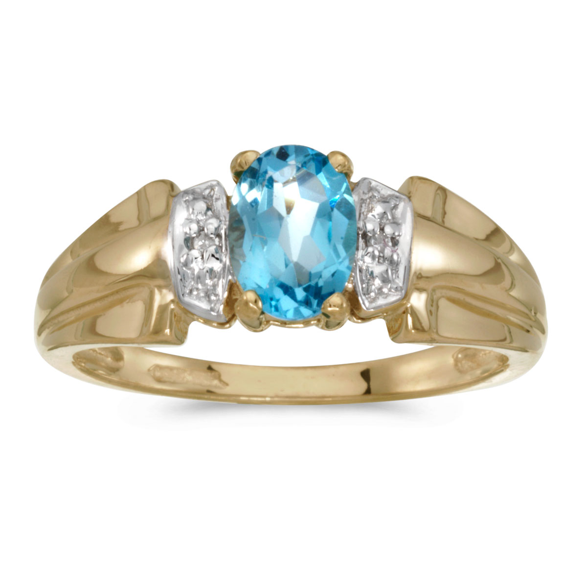 14k Yellow Gold Oval Blue Topaz And Diamond Ring by