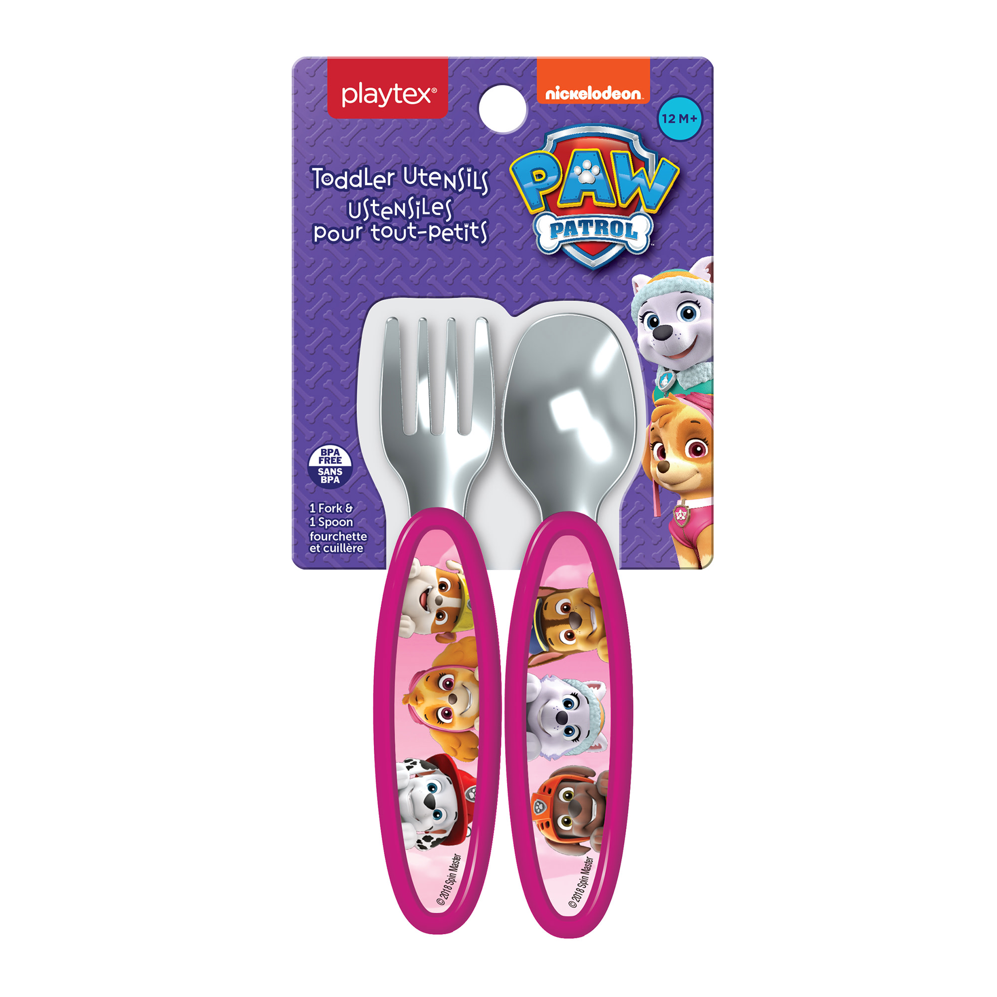 Playtex Mealtime Paw Patrol Pink Toddler Utensil Set for Girls Includes 1 Spoon and 1 Fork by Playtex Baby