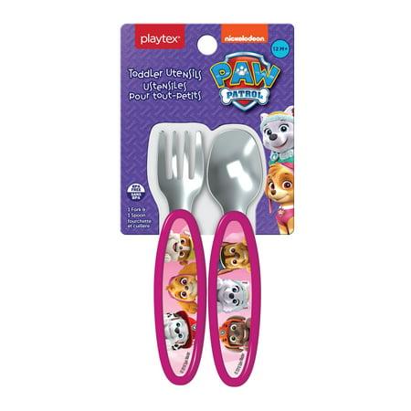 Playtex Mealtime Paw Patrol Girls Toddler Utensils, 1 Fork & 1 Spoon
