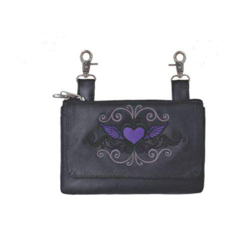 Purple Heart Embroidered Leather Hip Purse