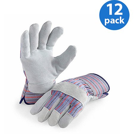 - LP4300-L-12PK, 12 Pair Value Pack, Genuine Suede Leather Palm Work Gloves