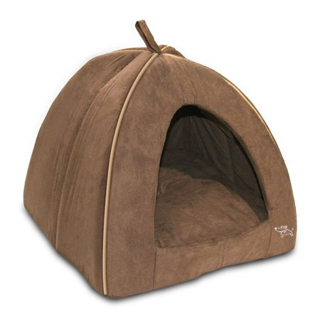 Best Pet Tent Bed For Dogs And Cats, Suede Brown, Large 18x18x16