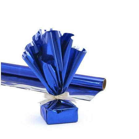 Mylar Gift Wrap Roll, 24 Inches X 25 Feet, Metallic Dark Blue Pkg/1