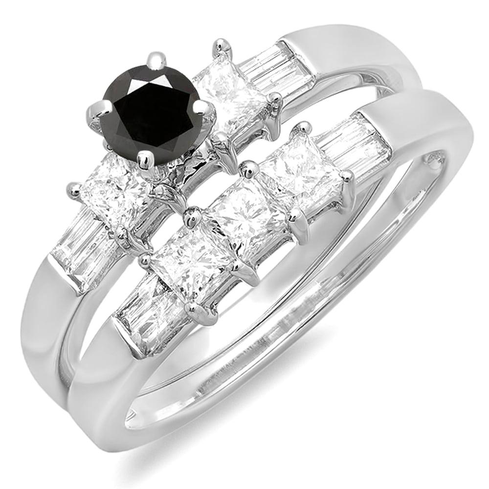 1.00 Carat (ctw) 10K White Gold Round Princess & Baguette Cut Black & White Diamond Ladies Bridal Engagement Ring Set 1