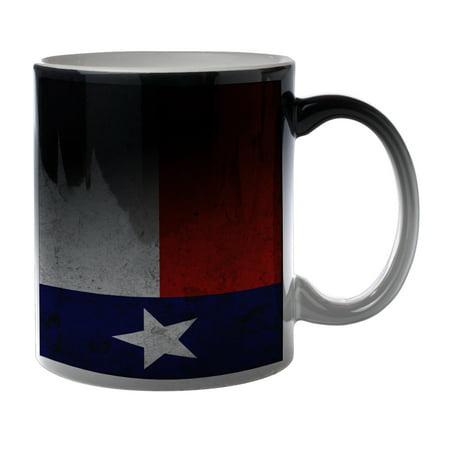 KuzmarK Black Heat Morph Color Changing Coffee Cup Mug 11 Ounce - Texas Flag Concrete Wall (Kids Black Morph Suit)