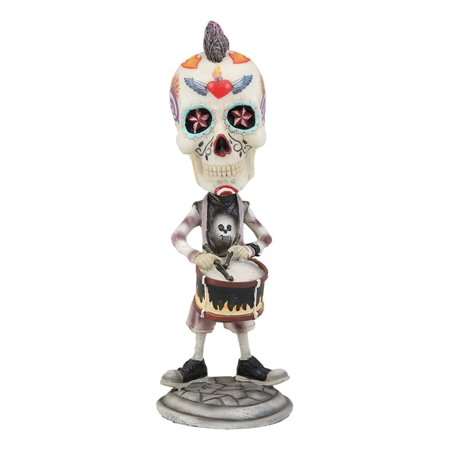 Halloween Themed Rock Songs (Ebros Gift Day Of The Dead Tattoo Skeleton Rock Snare Drum Player Drummer Bobblehead Figurine 6.5