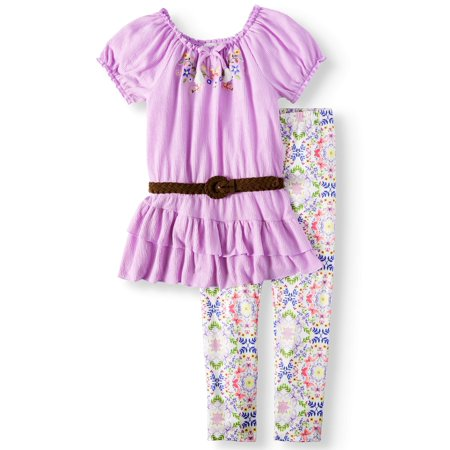 Embroidered Belted Tunic and Legging, 2-Piece Outfit Set (Little Girls, Big Girls & Big Girls Plus) - Jazzercise Outfits