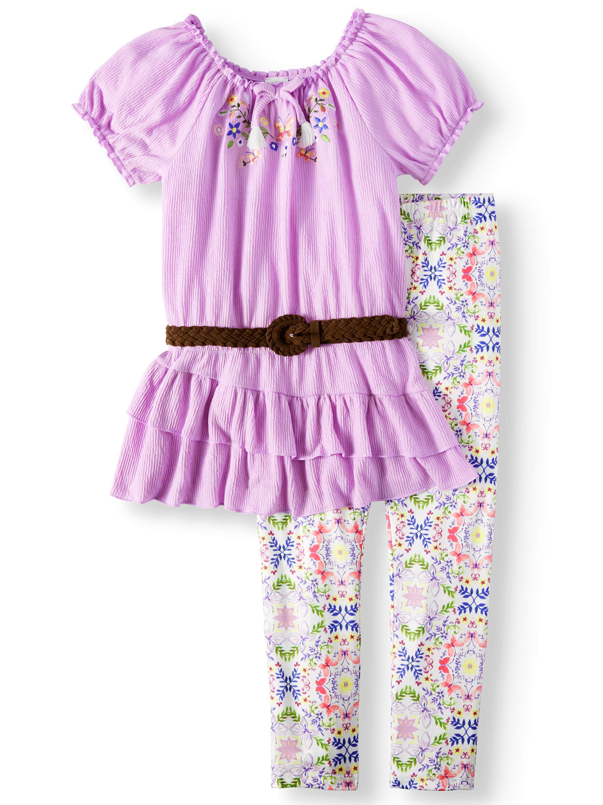 Embroidered Belted Tunic and Legging, 2-Piece Outfit Set (Little Girls, Big Girls & Big Girls Plus)
