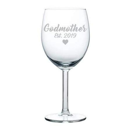 Wine Glass Goblet Baptism Christening Godmother Est 2019 (10