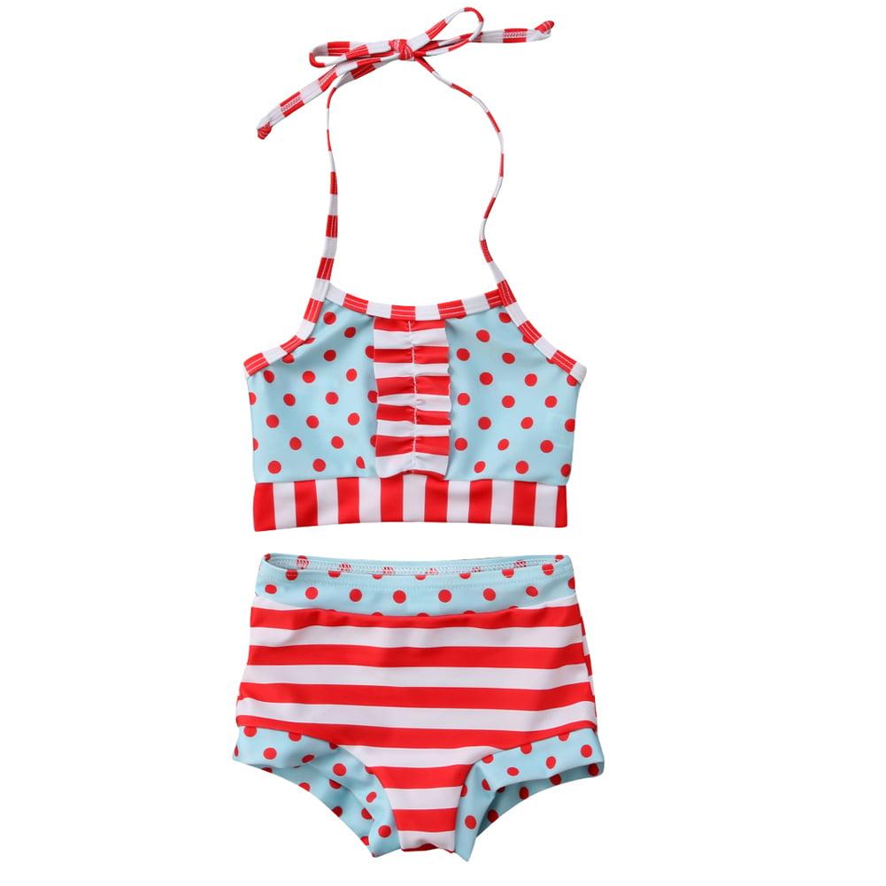 Polka Dot Bathing Beauty Sitting Figurine: Toddler Kid Baby Girls Halterneck Stripes Polka
