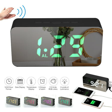 Digital Colorful RGB LED Mirror Alarm Clock USB/Battery Powered Desktop Thermometer Clock with Adjustable Luminance 3 Alarms Snooze Function USB Charging