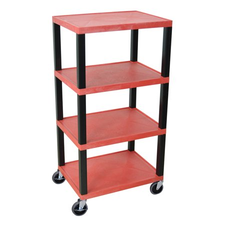 Offex Tuffy Utility Cart – Four Shelves Red