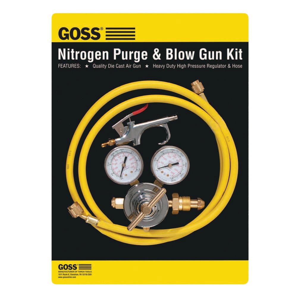 Goss Nitrogen Purge & Blow Gun Kits, High Pressure Regulator, 6 ft Hose, Blow Gun