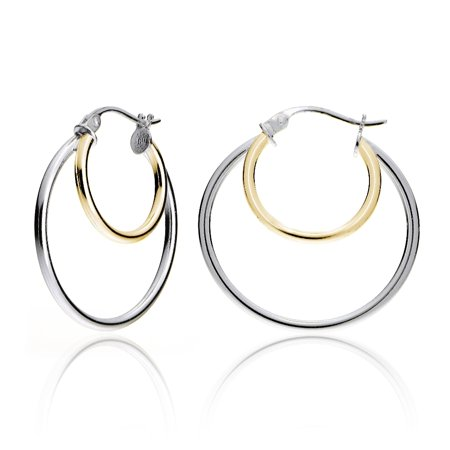 Gold Tone over Sterling Silver Two-Tone Double Circle Round Polished Hoop Earrings,