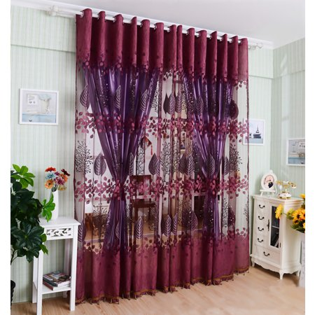 250*100cm Living Room Curtain Floral Tulle Door Window Curtain Drape Panel Sheer Scarf Valances Glass Yarn Curtains - image 4 of 9