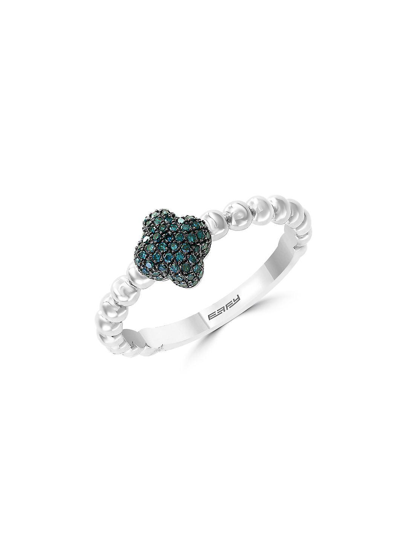 Beaded Sterling Silver & Blue Diamond Cross Ring