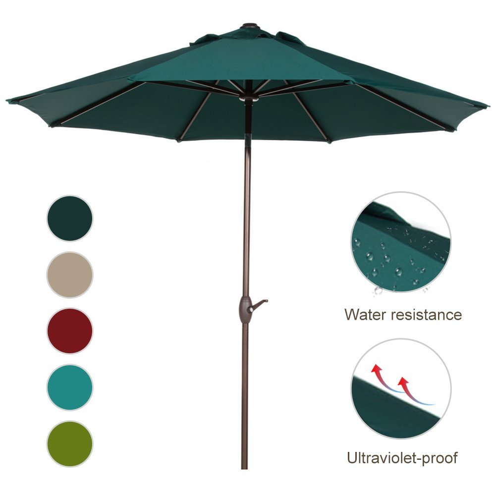Abba Patio 9-Ft Aluminum Patio Umbrella with Auto Tilt and Crank, 8 Ribs, Beige by Abba Patio