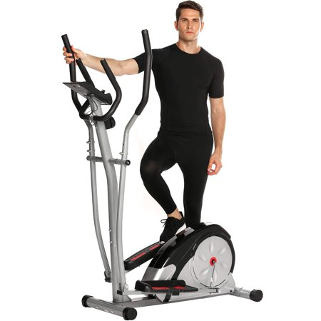 Elliptical Machine Trainer Magnetic Smooth Quiet Driven Elliptical Bike 2 in 1 Digital Monitor Large Window LCD Screen Time/Speed/Calorie/Distance/Heart Rate