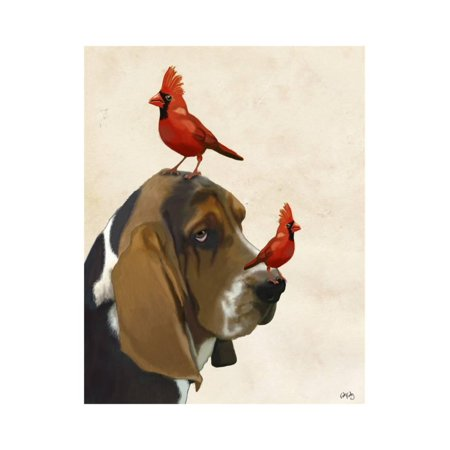 Basset Hound and Birds Print Wall Art By Fab Funky