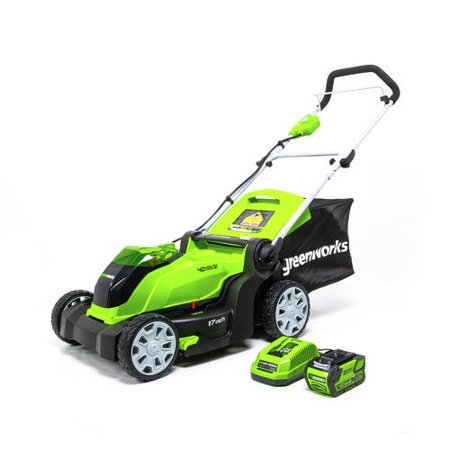 Greenworks G-MAX 40V 17 inch Brushed Mower, Includes 4Ah Battery and Charger 2508302