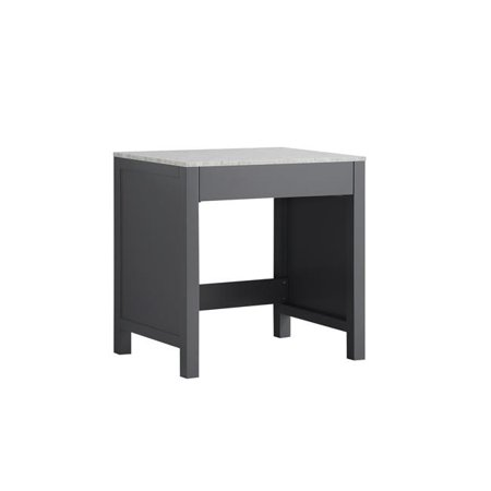Lexora LJ302230BDSMTB 30 in. Jacques Single Make-Up Table with White Carrera Marble Top - Dark (Marble Top Single)