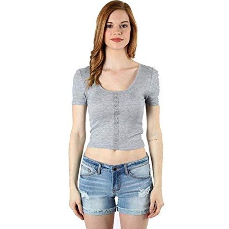 Fashion Secrets Juniors Ribbed Scoop Neck With Faux Snap Button Crop Top Shirt (H.Grey, (Fashion Snap)