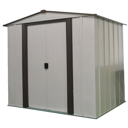 Steel Storage Shed 6 x 5 ft. Low Gable Galvanized Coffee/Eggshell