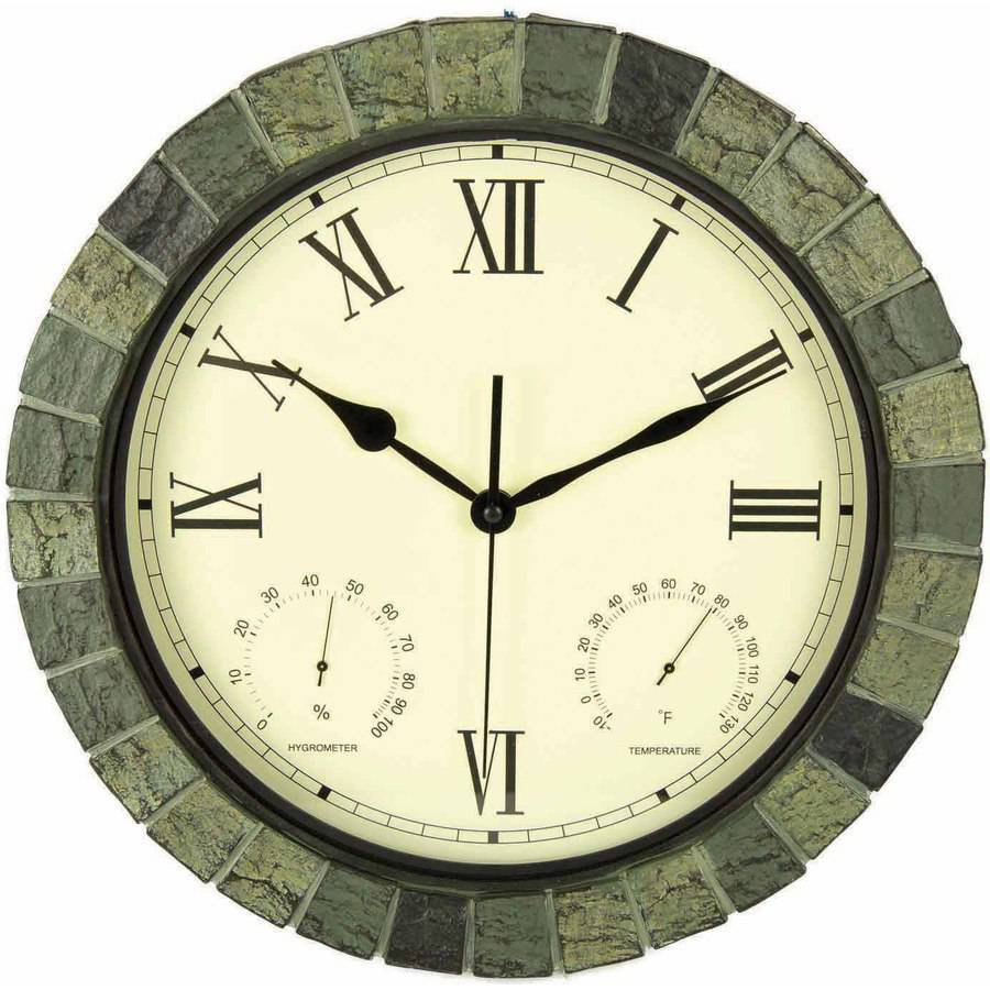 """Poolmaster 15"""" Faux Stone Clock/Thermometer/Hygrometer"""
