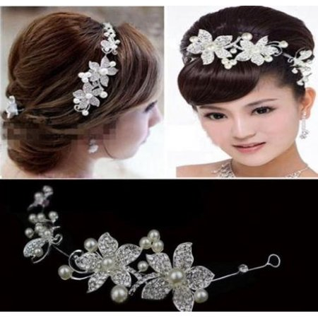 Wedding Bridal Pearls Crystal Rhinestone Flower Hair tiara Headband - Tiara Head Band
