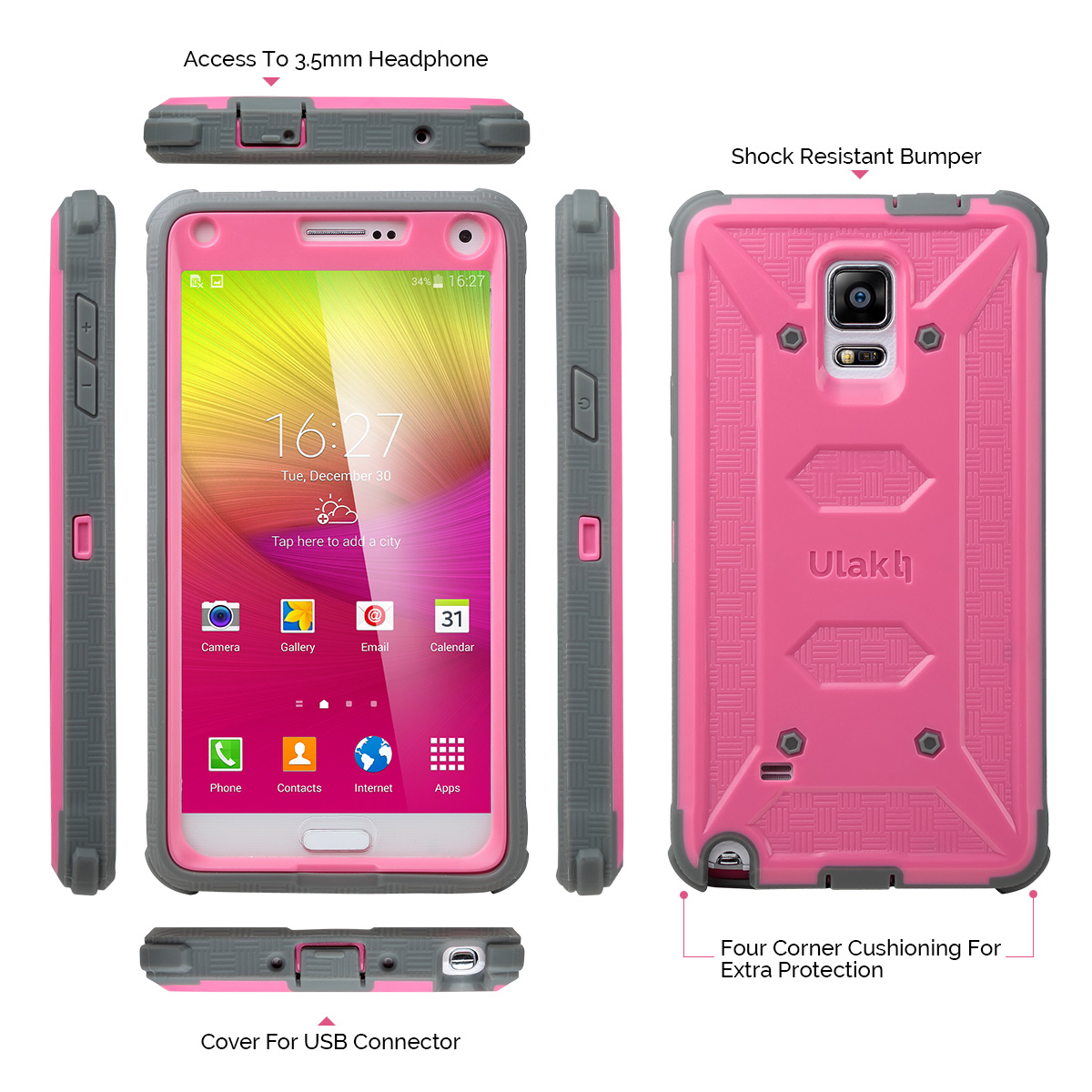 the latest 296b1 efdd1 Note 4 Case, Galaxy Note 4 Case, ULAK KNOX ARMOR Samsung Galaxy Note 4 Case  Full-body Rugged Case for Galaxy Note 4 Dual Layer Design + Impact ...