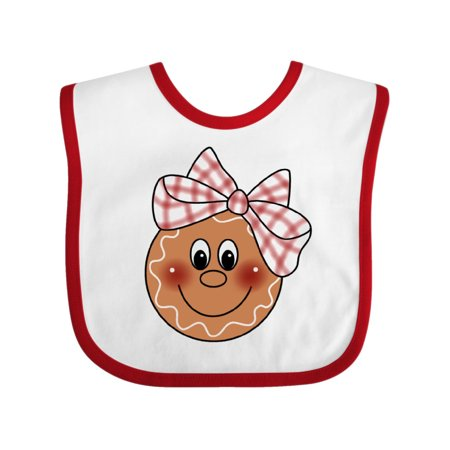 Gingerbread Face Baby Bib White/Red One Size (Gingerbread Face)
