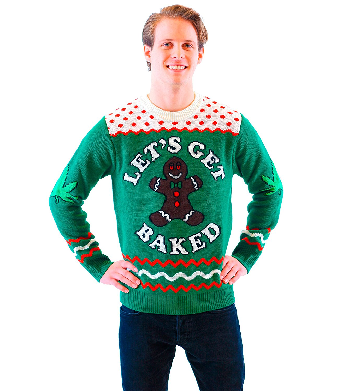 Joker Christmas Sweater.Let S Get Baked Happy Gingerbread Green Ugly Christmas Sweater