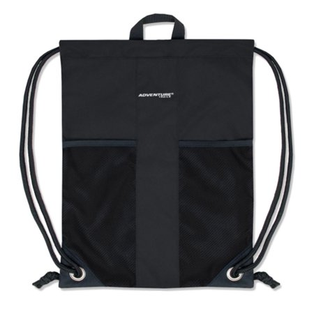 Adventure Trails Unisex Black Front Mesh Pocket Drawstring Backpack 18