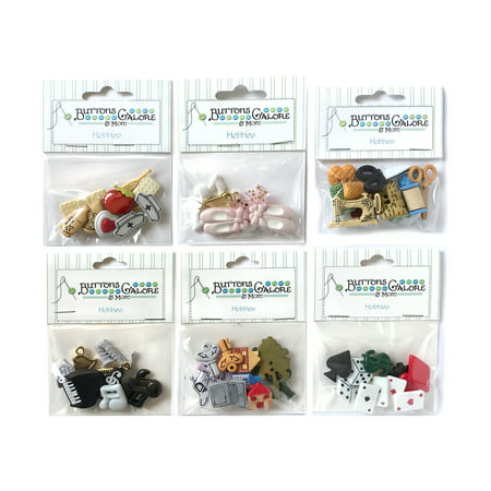 Buttons Galore 50+ Assorted Buttons for Sewing & Crafts - Hobbies - Set of 6 Button Packs