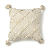 "Better Homes & Gardens Tufted Trellis Decorative Throw Pillow, 20"" x 20"", Natural"