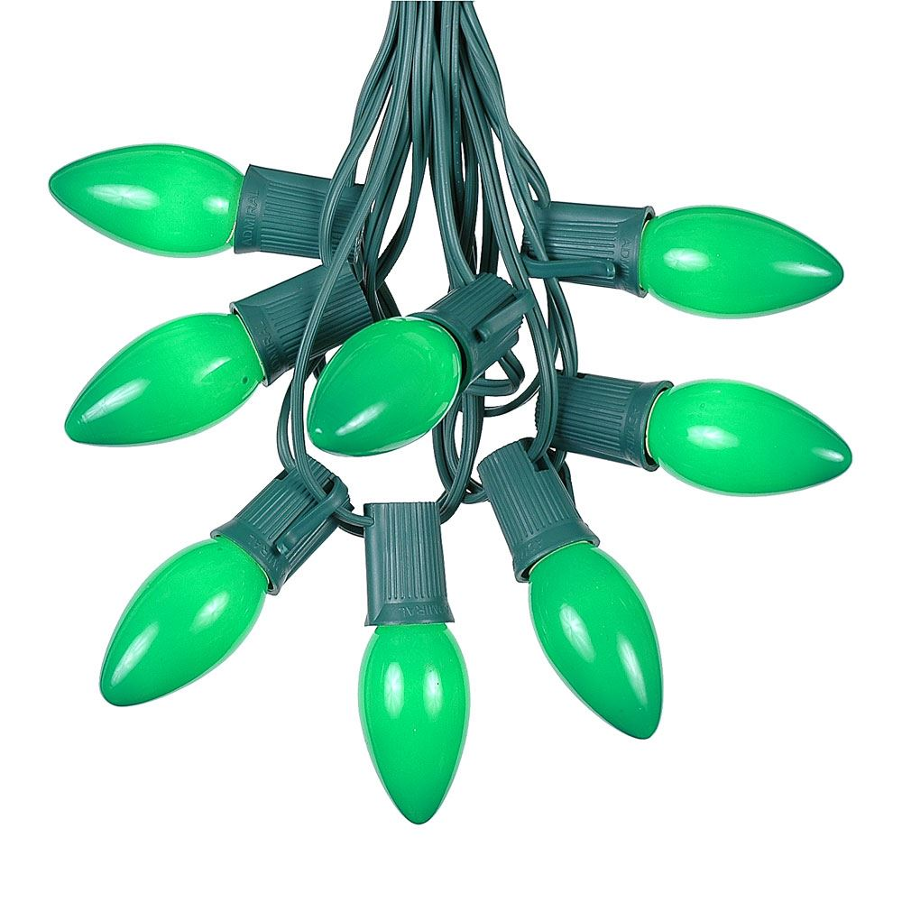25 Foot C9 Ceramic Christmas String Light Set - Outdoor Christmas Light String - Christmas Tree Lights – Opaque Christmas Bulbs - Roofline Light String – Outdoor String Lights - Green Wire