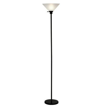"Home Source Linda 72"" Black Metal Torchiere Floor Lamp"