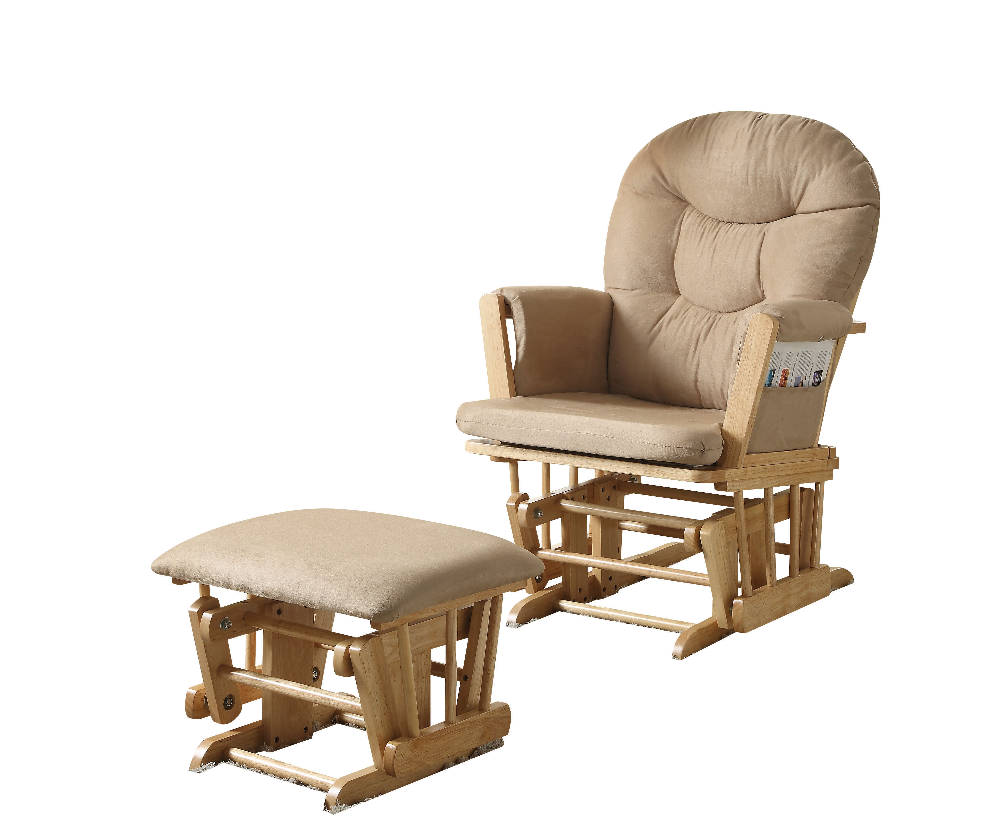 ACME Rehan 2-Piece Pack Glider Chair & Ottoman, Taupe Microfiber & Natural Oak by ACME Furniture