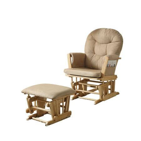 ACME Rehan 2-Piece Pack Glider Chair & Ottoman, Taupe Microfiber & Natural Oak ()