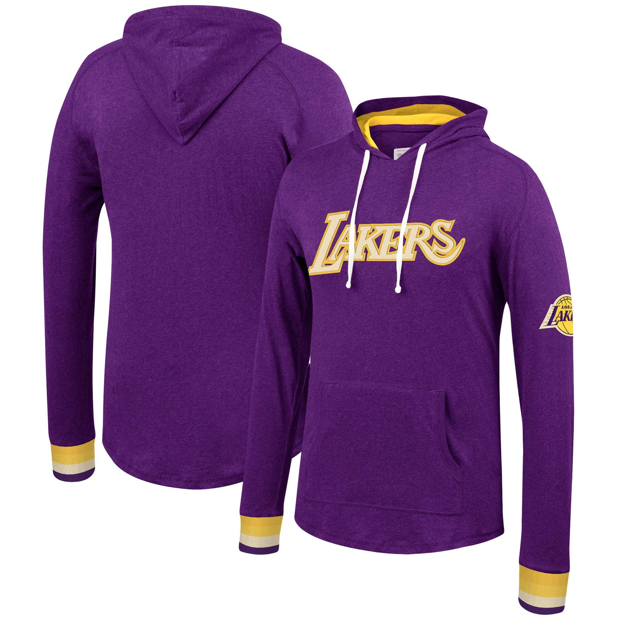Los Angeles Lakers Mitchell & Ness Striped Cuff Pullover Hoodie - Purple