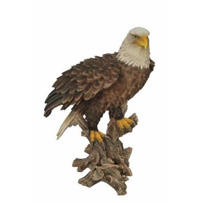 Hi-Line Gift 87980 Bald Eagle Standing on Stump Statue