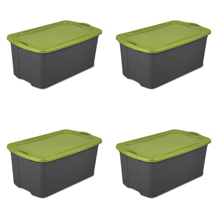 2 Plastic Carrying Case - Sterilite, 30 Gal./114 L EZ Carry, Flat Gray/ Spicy Lime, Case of 4