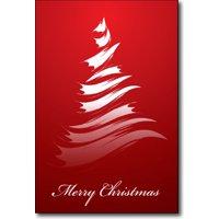 Brushstroke Tree Christmas Cards - 16 Greeting Card Sets