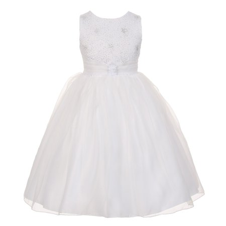 The Rain Kids Little Girls White Organza Sparkly Elegant Occasion Dress 4](Little Girls White Dresses)