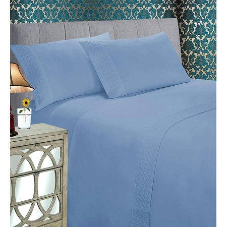 Elegant Comfort Luxury Best, Soft Coziest 4-Piece Bed Set 1500 Thread Count Egyptian Quality | |Quilted Design on Flat Sheet and Pillowcases| Wrinkle Free, 100% Hypoallergenic, Full, Denim Blue