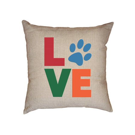 Love With Animal Print Dog Cat Pet Lover Decorative Linen Throw Cushion Pillow Case with Insert ()