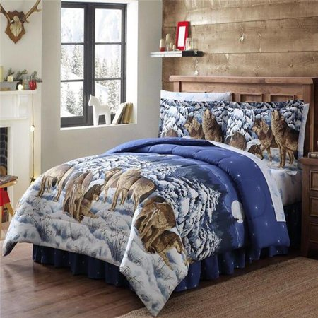 Asian Inspired Bed (Ellison First Asia 20681801BB-MUL Midnight Wolves Bed in a Bag Comforter Set, Blue - Twin Size, 6 Piece)